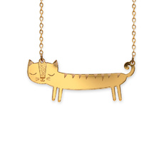 'Catnap' Mini Gold Sausage Cat Necklace