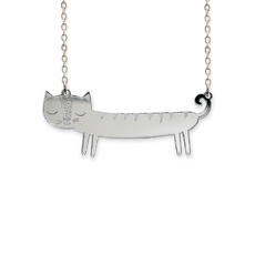 'Catnap' Mini Silver Sausage Cat Necklace