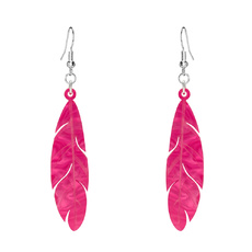 Flamingo Feather Earrings