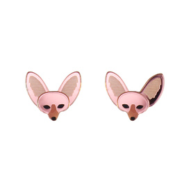 Fennec Fox Stud Earrings - Rose Gold