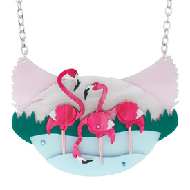 Flamingo Scene Necklace